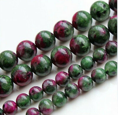 """4/6/8/10/12mm Red Green Ruby Zoisite Round Gems Loose Beads 15"""" Strand AA"""