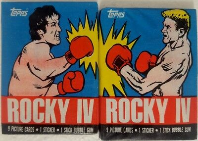 ROCKY IV Trading Card WAX PACK X 2 Variations TOPPS 1985 Sylvester Stallone