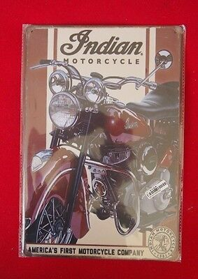 Retro Tin Sign - Indian Motorcycle, America's First Motorcycle Company - 20x30cm