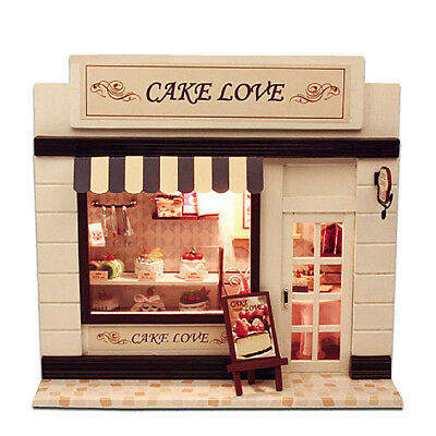 DIY Wooden Toy Doll House Miniature Kit Cake Love Dollhouse LED Lights Gifts