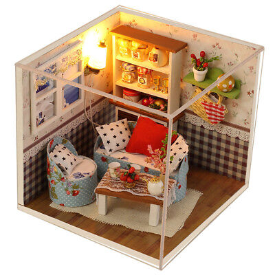 Xmas Gift DIY Wooden Toy Doll House Miniature Kit Dollhouse Box LED Light Gift