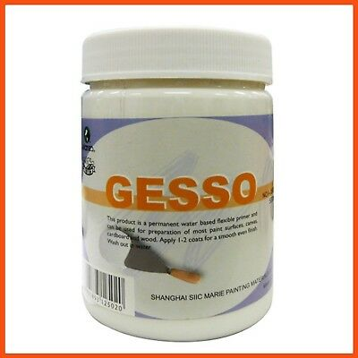 WHITE ACRYLIC GESSO 500ml | Art Canvas Primer Wood Sealer Universal Primer Paint