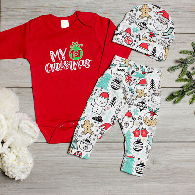 AU Newborn Baby Girl Boy Long Sleeve Tops Romper Pants Hat Outfits Christmas Set