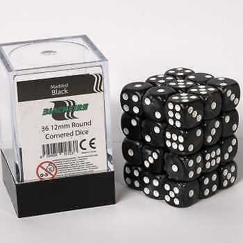 Blackfire Dice Cube - D6 36 Dice Set Marbled Black, 12mm
