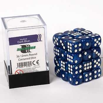Blackfire Dice Cube - D6 36 Dice Set Marbled Dark Blue, 12mm