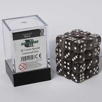 Blackfire Dice Cube - D6 36 Dice Set Transparent Black, 12mm