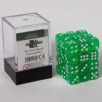 Blackfire Dice Cube - D6 36 Dice Set Transparent Dark Green, 12mm