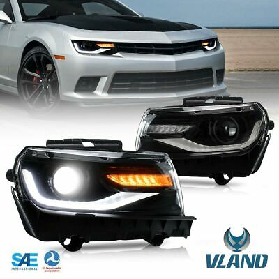 VF For 2014 2015 Chevy Camaro LED Headlight Blackout DRL Projector Head Lamp