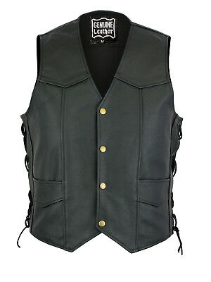 Mens Classic Side Laces Motorcycle Real Leather Biker Vest Waistcoat UK Style