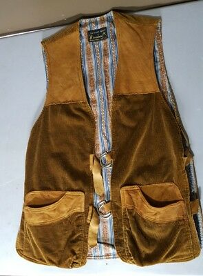Men's Unique Vintage Browning Sportsman's  Steampunk Suede & Corduroy Vest Color