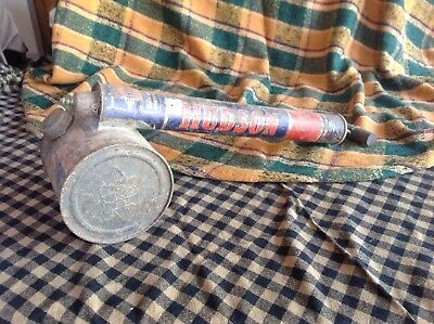 Antique Old Vintage Hudson Nebu-Lizor Bug Fly Sprayer Metal Wood Handle Red