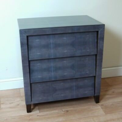 Dark Grey Shagreen Beveled Glass 3 Drawer Contemporary Chest of Drawers 1950s