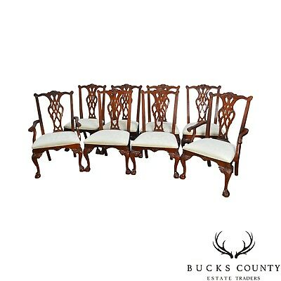 Stanley Stoneleigh Set of 8 Mahogany Ball & Claw Carved Dining Chairs