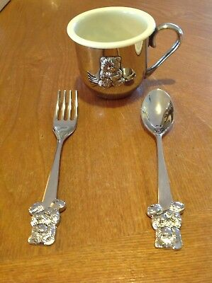 Towle Vintage Silver Sippy Cup, Fork,Spoon with Teddy Bear Design Extra Cup