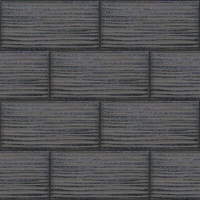 Wave Tile Effect Wallpaper Charcoal Holden 89322 Kitchen / Bathroom Grey New