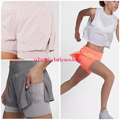 """Details about Womens NIKE Flex Eclipse 2 in 1 Running Shorts Size Small (3"""") 895813 209"""