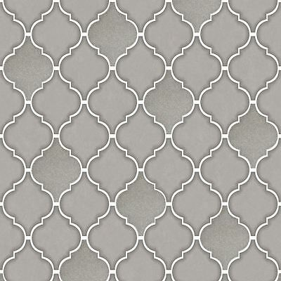 Trellis Tile Effect Wallpaper Grey Holden 89311 - Silver Kitchen / Bathroom New