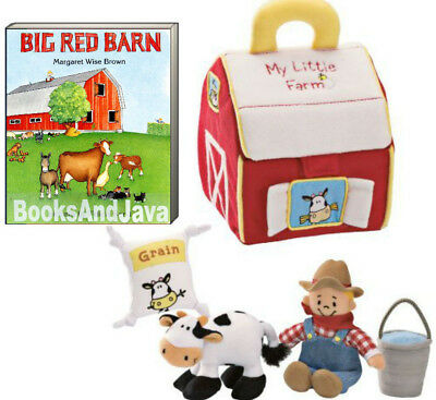 Big Red Barn by Margaret Wise Brown (Board Book)  & Gund My Little Farm Play Set