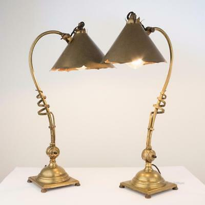 W.A.S. BENSON Pair Arts and Crafts Brass Table Lamps No 1192/s c. 1900 H50cm