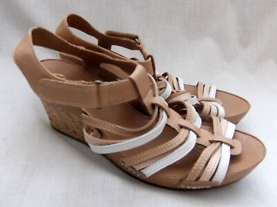 34f8d2c054cf New Clarks Rusty Lady Womens Natural Combi Leather Wedge Sandals Size 7   41