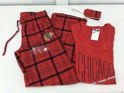 CHICAGO BLACKHAWKS - NHL Ladies 3 piece Pajama set - pants/shirt/mask - NEW