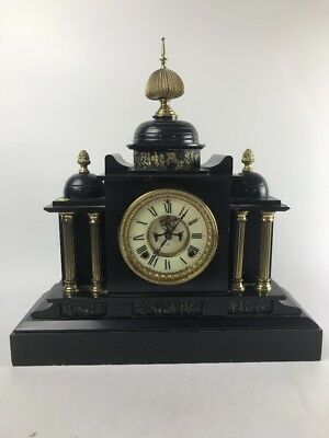 Antique Ansonia Marble Mantle Clock Manufactured In New York- Lot 401