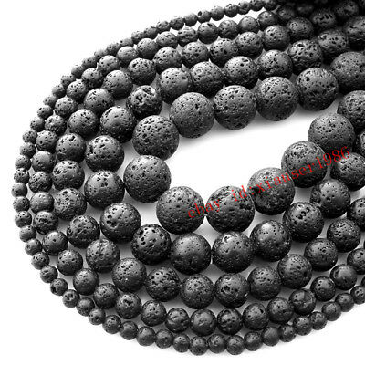 Natural Gemstone Black Volcanic Lava Stone Loose Beads 4mm 6mm 8mm 10mm 12mm