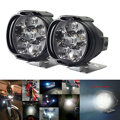 2x CNSUNNYLIGHT Motorcycle 6 LED Headlights Scooter Fog Spot Light Lamp DC 9-85V