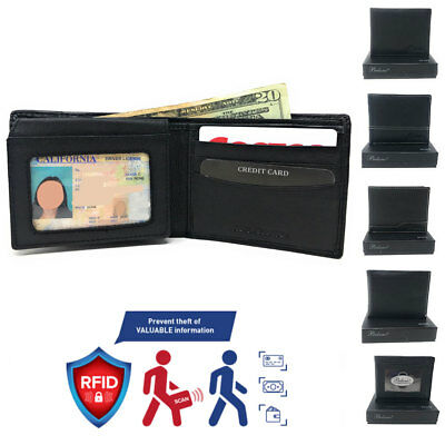 Belano RFID Blocking Real Leather Bifold Wallets for Cards ID with Box Men Women