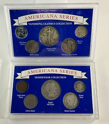 1892-1943 Americana Series US Silver Coins Cent- Half Dollar, 10 Different Coins