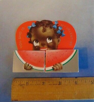 Vintage Black Americana , Racist Valentines Day  Card ,Girl with Watermelon