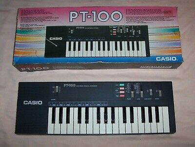 Casio PT-100 Electronic Keyboard Synthesizer Tested Works Vintage