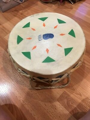 """Native American Tribal Drum Signed Dale Besse 12"""" Dia."""