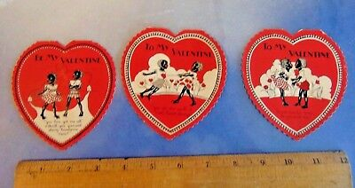 Vintage Black Americana , Racist Valentines Day  Cards ,group of 3 ,1930s