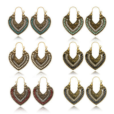 Women's Vintage Bohemian Boho Style Hollow Out Heart Tassel Hook Earrings Gift