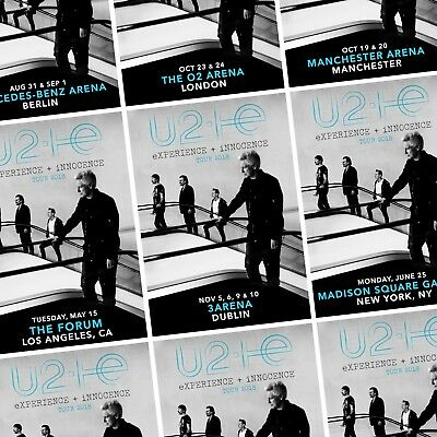 U2 eXPERIENCE + iNNOCENCE 2018 World Tour PHOTO Print POSTER Band 30 Cities