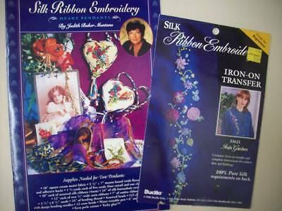 Silk ribbon embroidery pattern Heart Pendants and transfer  Irish Garden