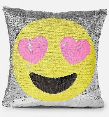 NWT Justice Girls Yellow Smiley Face Emoji Flip Sequin Pillow