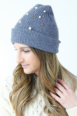 UK New Winter Grey Pearl Gold Beaded Knitted Ribbed Beanie Hat Glamzam