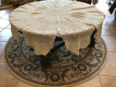 """Vintage Ivory Cotton Crochet Lace Tablecloth 66"""" Round  Hand Made"""