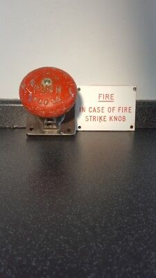 Antique Fire Alarm Stop Red Push Button Sign Collectable Old Fire Brigade Lfb