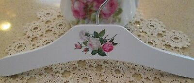 """Vintage-Like 10"""" Infant Child's Wooden Painted Hanger With Decal~Shabby Roses #6"""