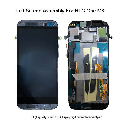 For HTC One M8 Black LCD Display Touch Screen Digitizer Replacement +Frame