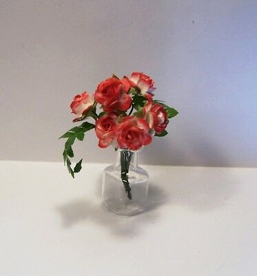 Miniature Ferns Handmade Red & White Paper Roses Dollhouse Diggs 1:12 Glass Vase