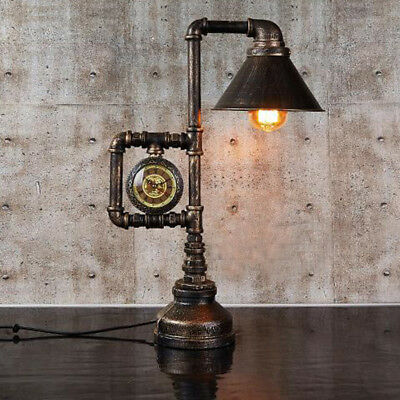 Retro Industrial Water Pipe Table Light Edison Desk Lamp Accent with Clock Light