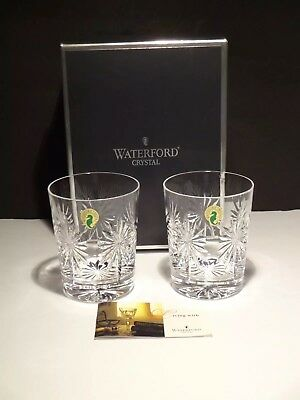 2 Waterford Crystal Congratulations Double Old Fashioned Tumbler Glasses