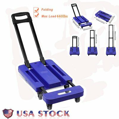 Foldable 440LB Hand Push Truck Dolly Collapsible Cart Luggage Trolley & 6 Wheels