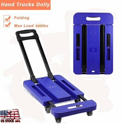 Folding 440LB Hand Truck Dolly Collapsible Cart Luggage Trolley & 6 Wheels Blue