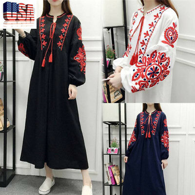 Women's Mexican Ethnic Embroidered Hippie Blouse Gypsy Boho Long Maxi Dress US