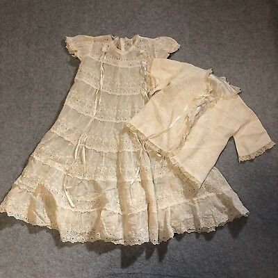 Little Folks Giftwear 2 Piece Lace Baby Christening Gown Jacket Outfit Vintage